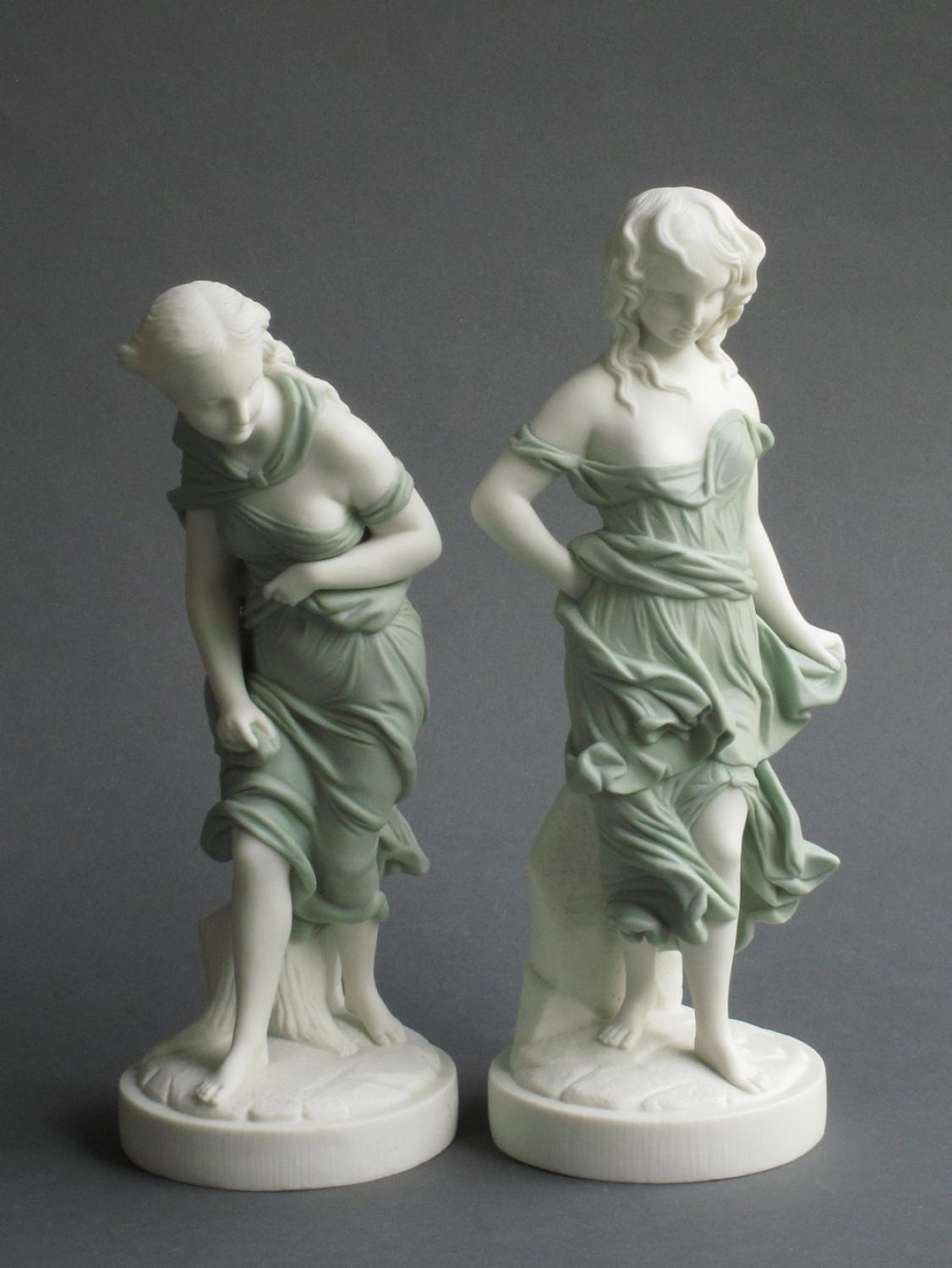 Worcester coloured Parian pair of figures