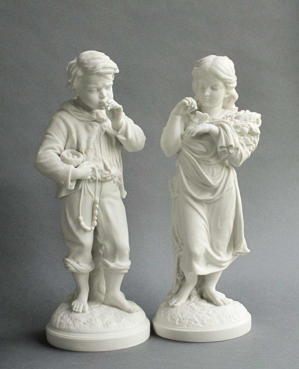 Copeland Parian figures of Young Naturalists