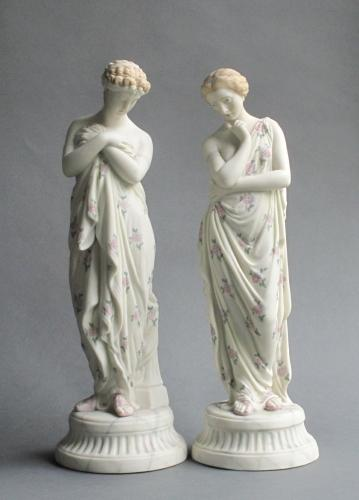 Pair of tinted parian figures of virtues