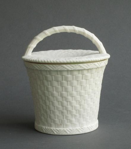Minton parian basketweave jar and cover