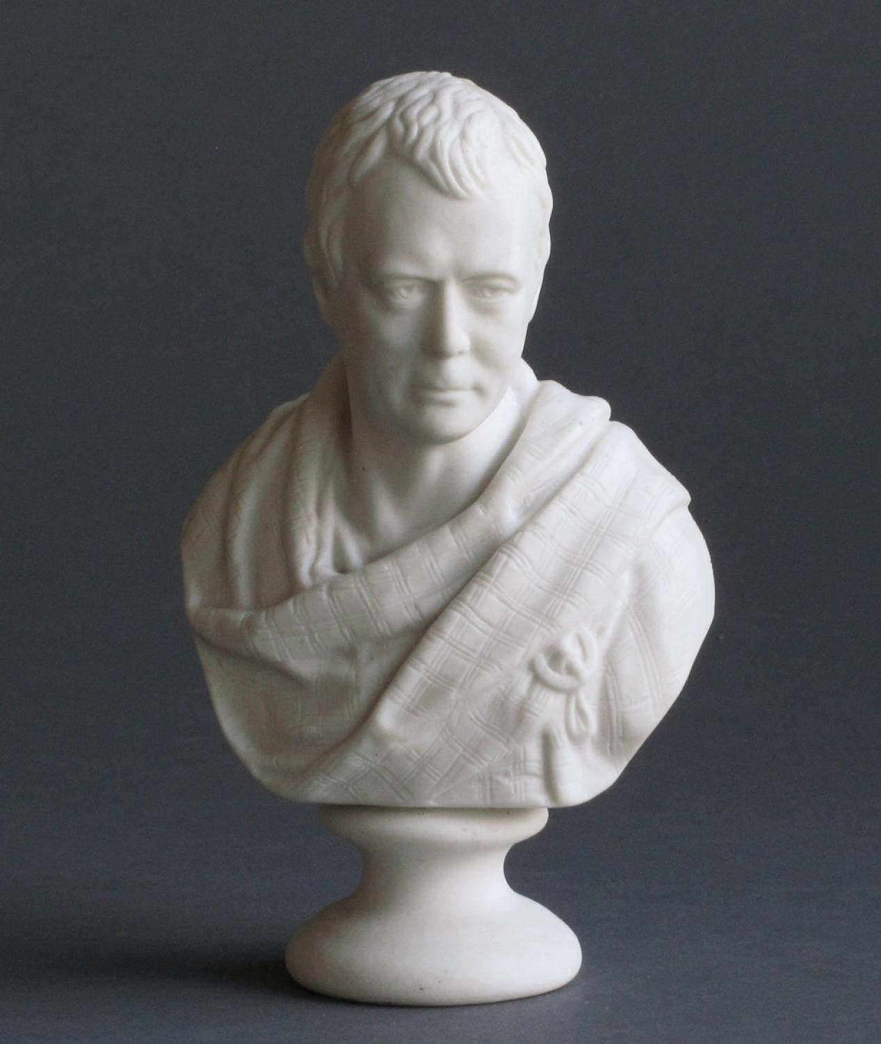 A small Goss Parian bust of Sir Walter Scott