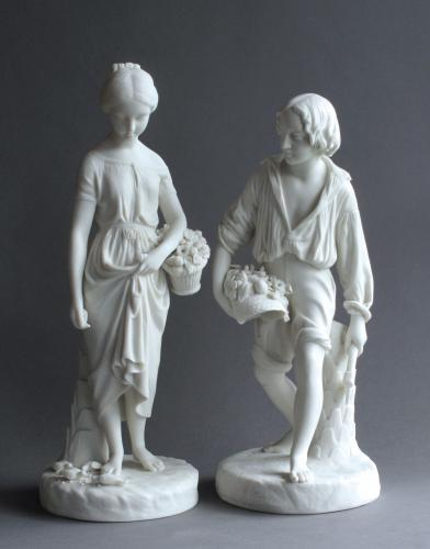 Copeland Parian figures of Paul & Virginia