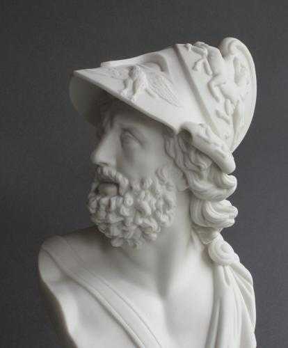 A Parian bust of Ajax, possibly by Worcester
