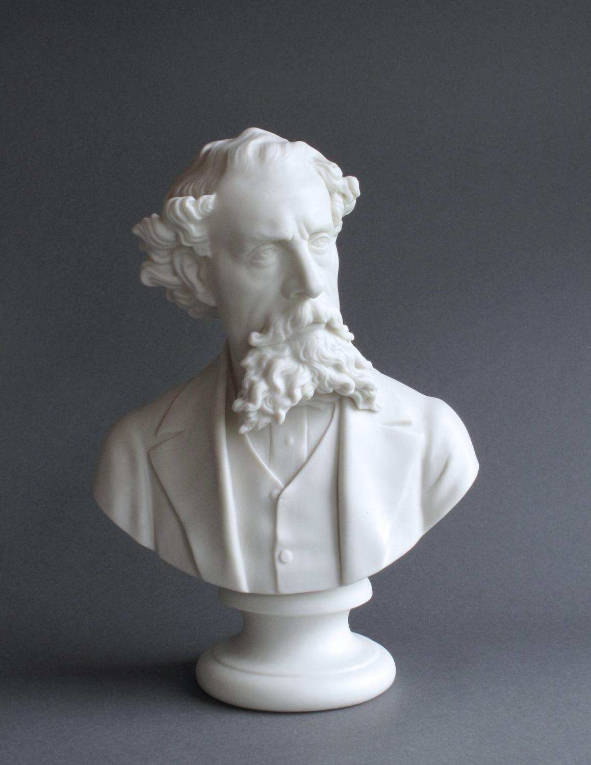 A large Parian bust of Charles Dickens