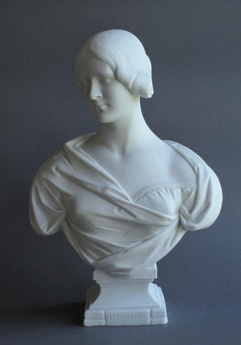 A rare early Minton Parian bust of Jenny Lind