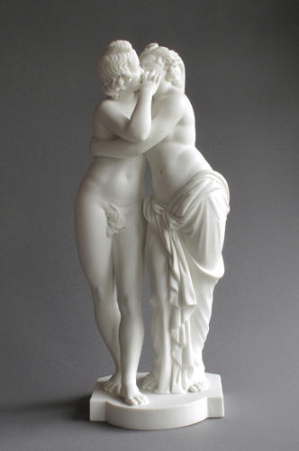 A Minton Parian figure group of Cupid and Psyche