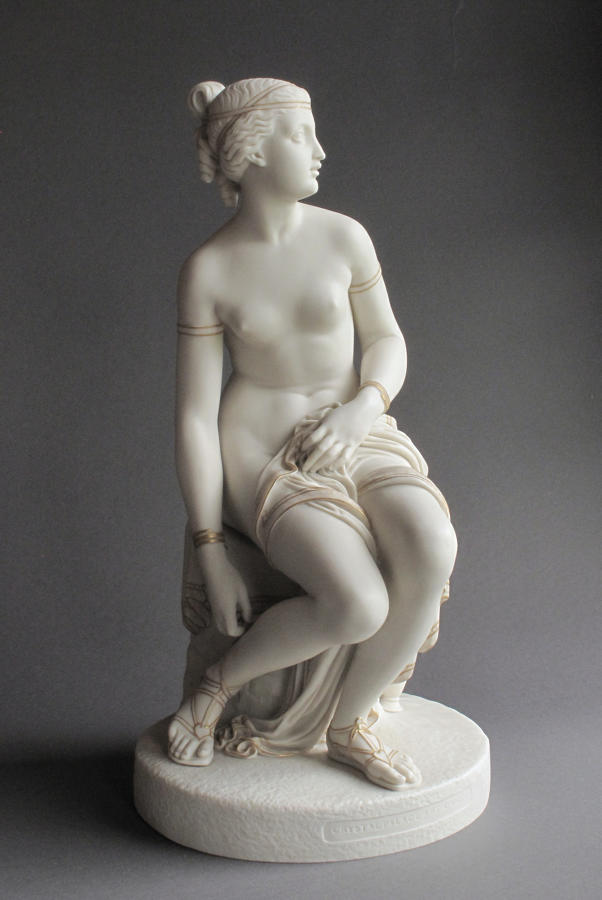 A Copeland Parian figure of a Nymph untying her Sandal