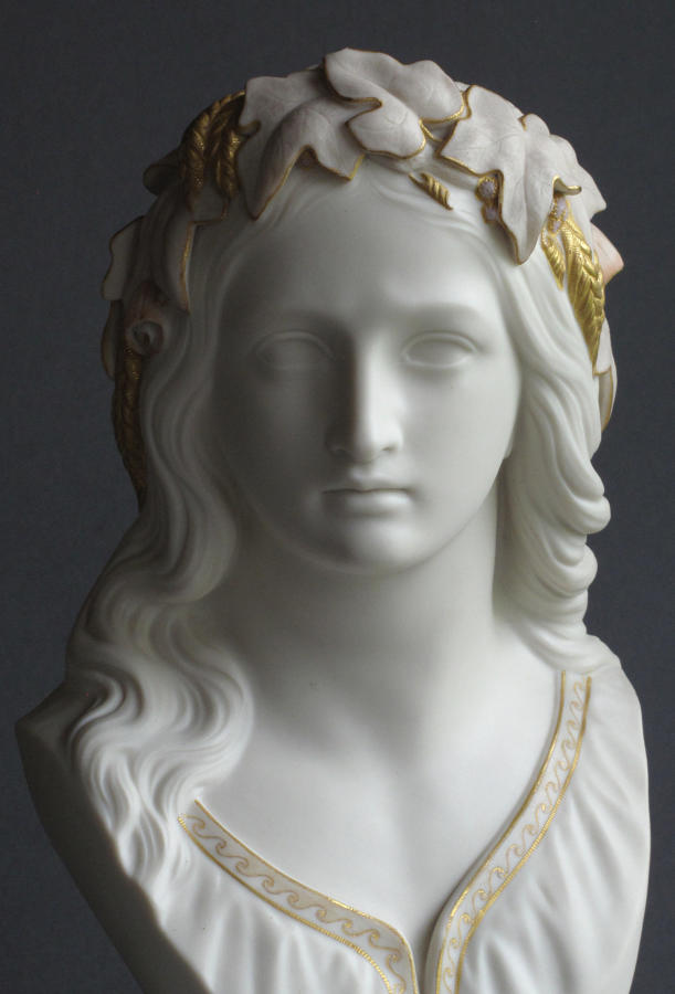 A tinted Parian bust of Ophelia by Copeland