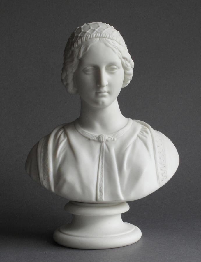 A Parian bust of a Renaissance Woman