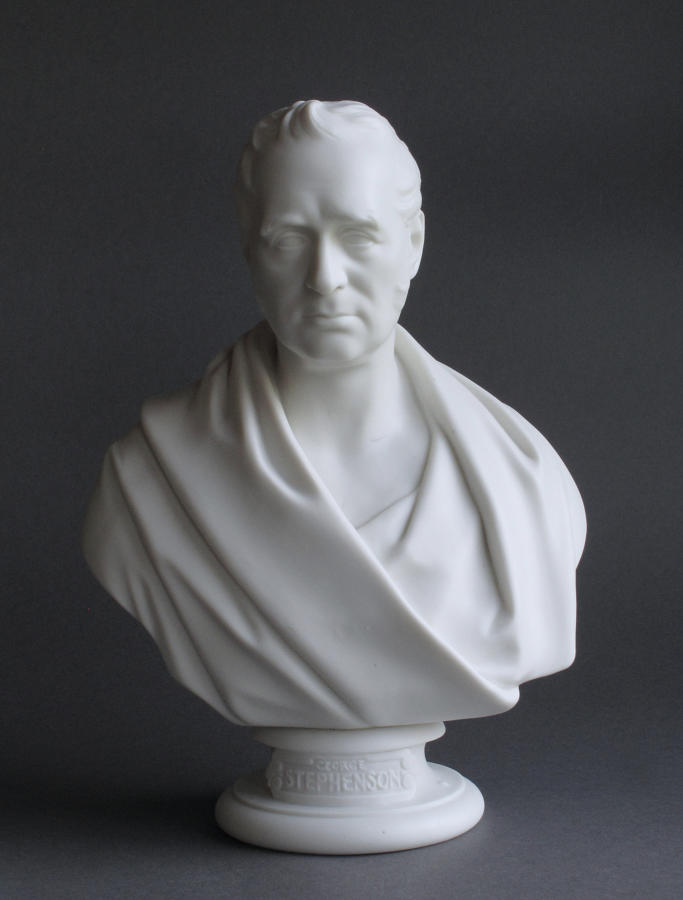 A Minton Parian bust of George Stephenson