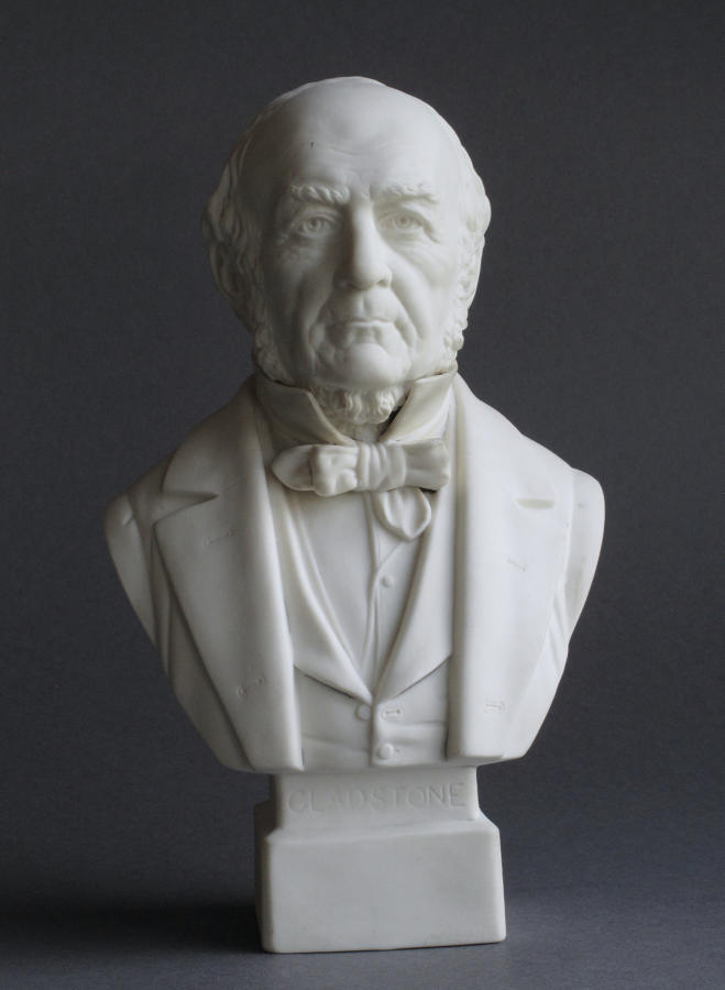 A small Parian bust of Gladstone by Robinson and Leadbeater