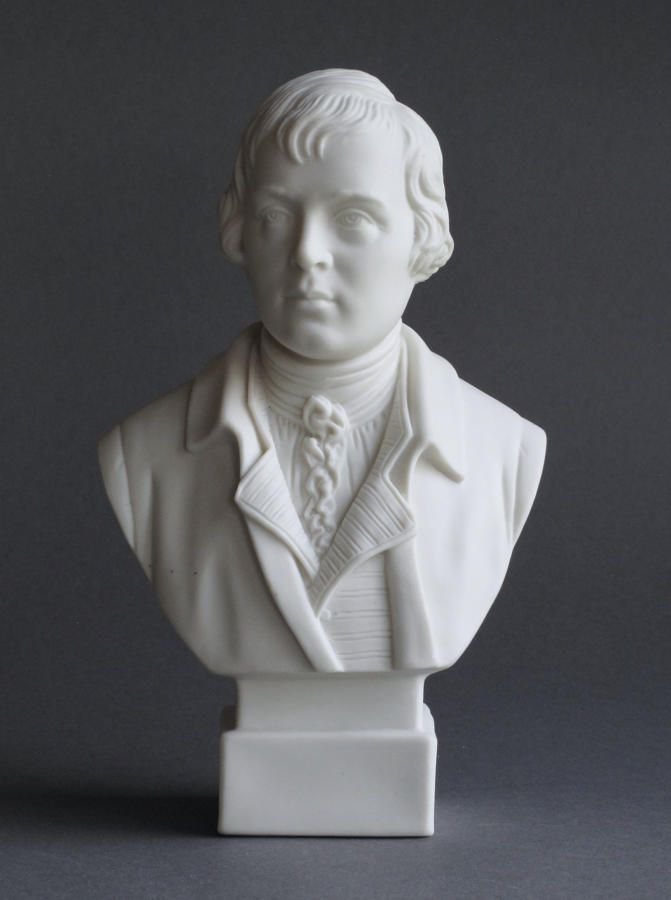 A small Parian bust of Robert Burns by Robinson and Leadbeater
