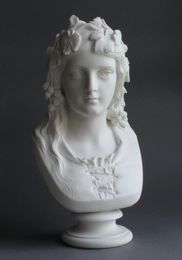 A good Parian bust of the Hop Queen by Copeland