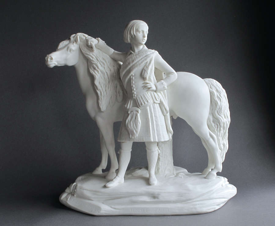 A good Minton Parian figure of Prince Alfred and pony