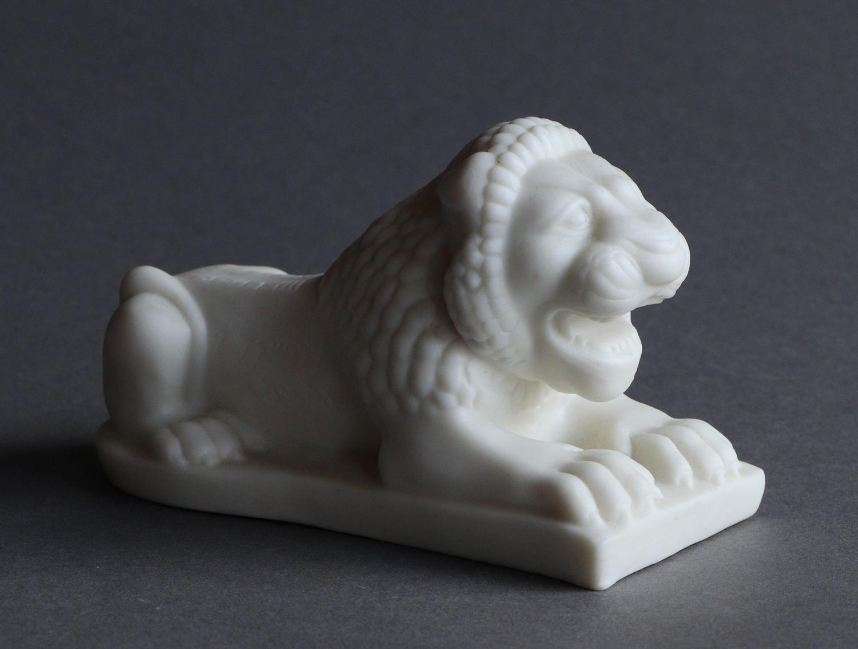 A Copeland Parian Assyrian Lion Paperweight
