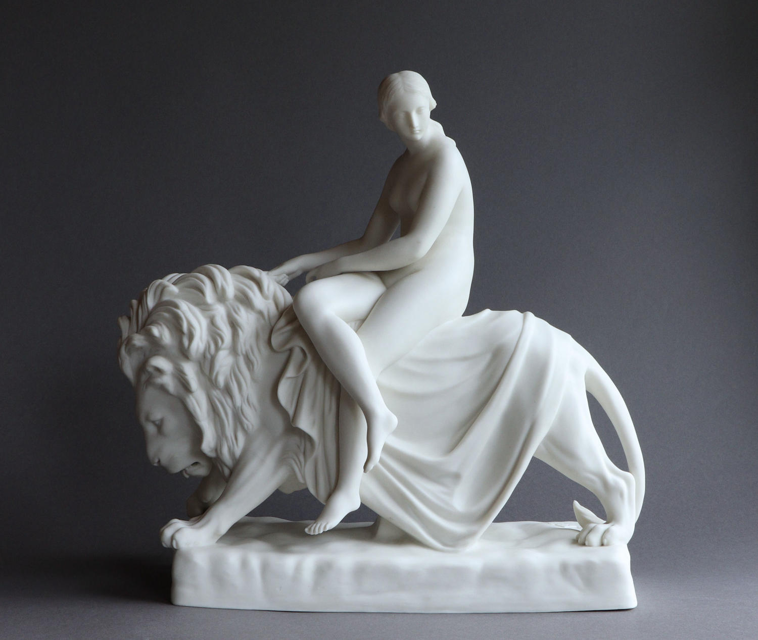 A Minton Parian figure of Una and the Lion