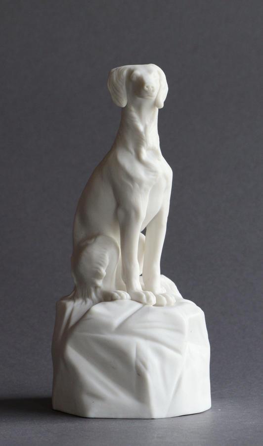 A Minton Parian figure of an Italian Greyhound or Saluki