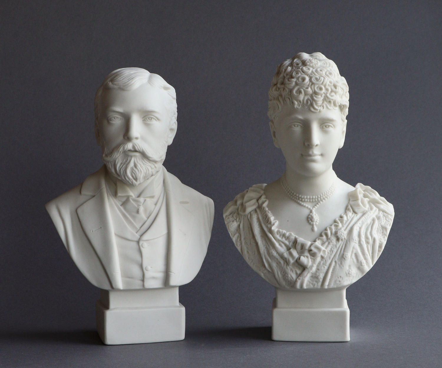 A pair of small R&L busts of the Duke of York and Princess May