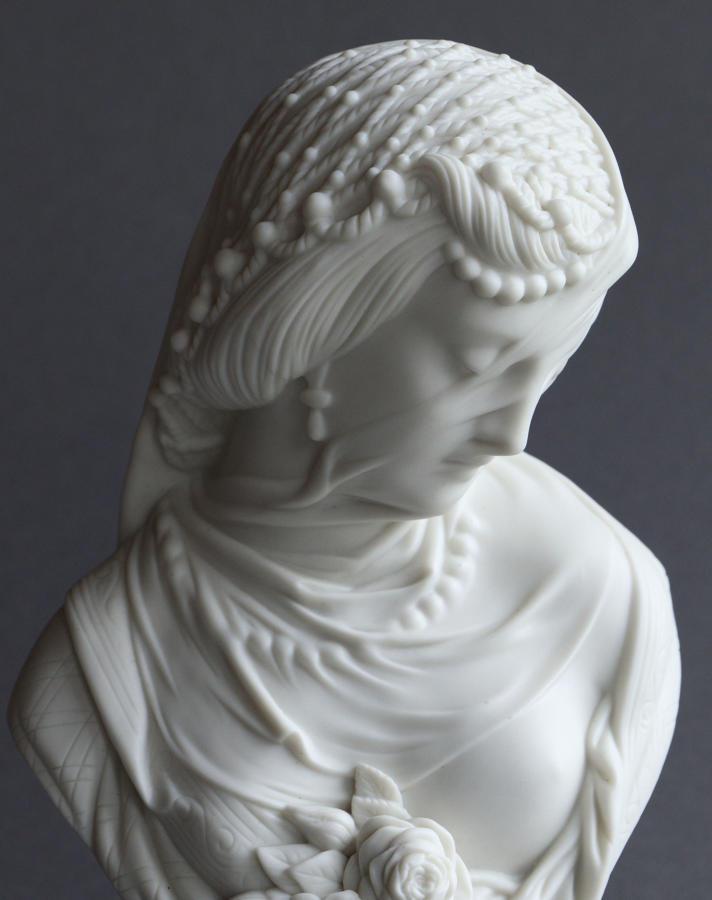 A Parian bust of a veiled woman by Robinson & Leadbeater