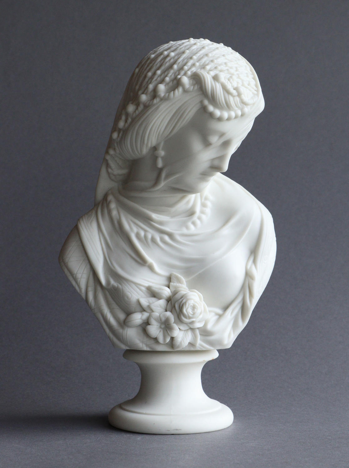 A Parian bust of a veiled woman by Robinson & Leadbeater