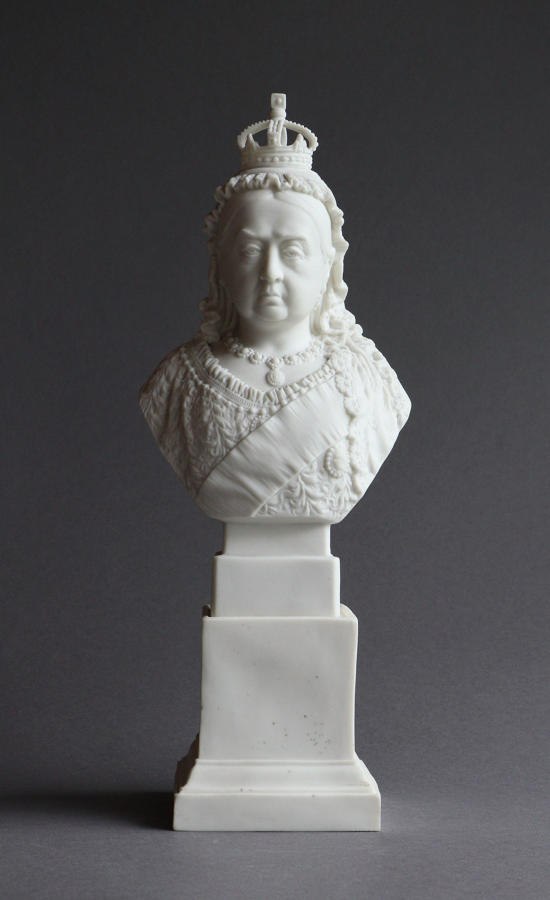 A small R&L Parian Diamond Jubilee bust of Queen Victoria on a plinth