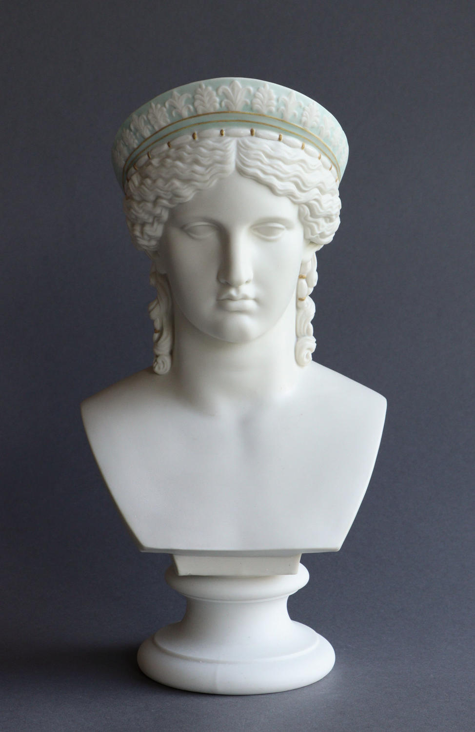 A rare tinted Parian bust of Juno by Copeland