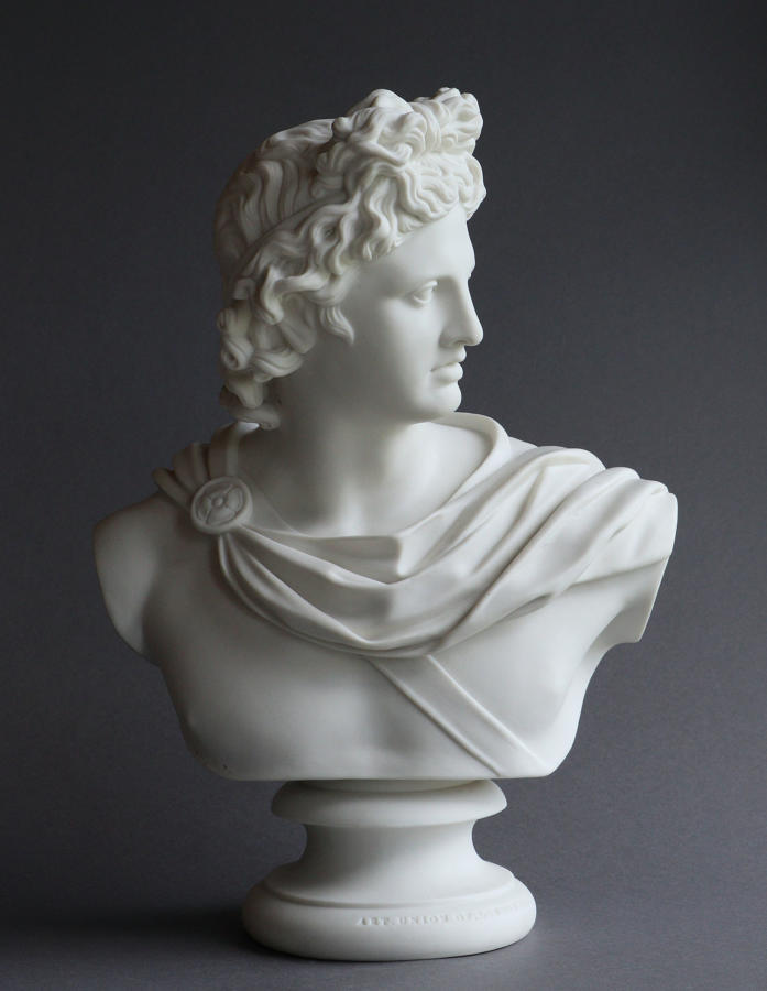 A good Parian bust of Apollo, possibly by Copeland