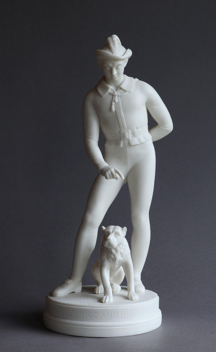 A good-sized R&L Parian figure of Launce and his dog Crab