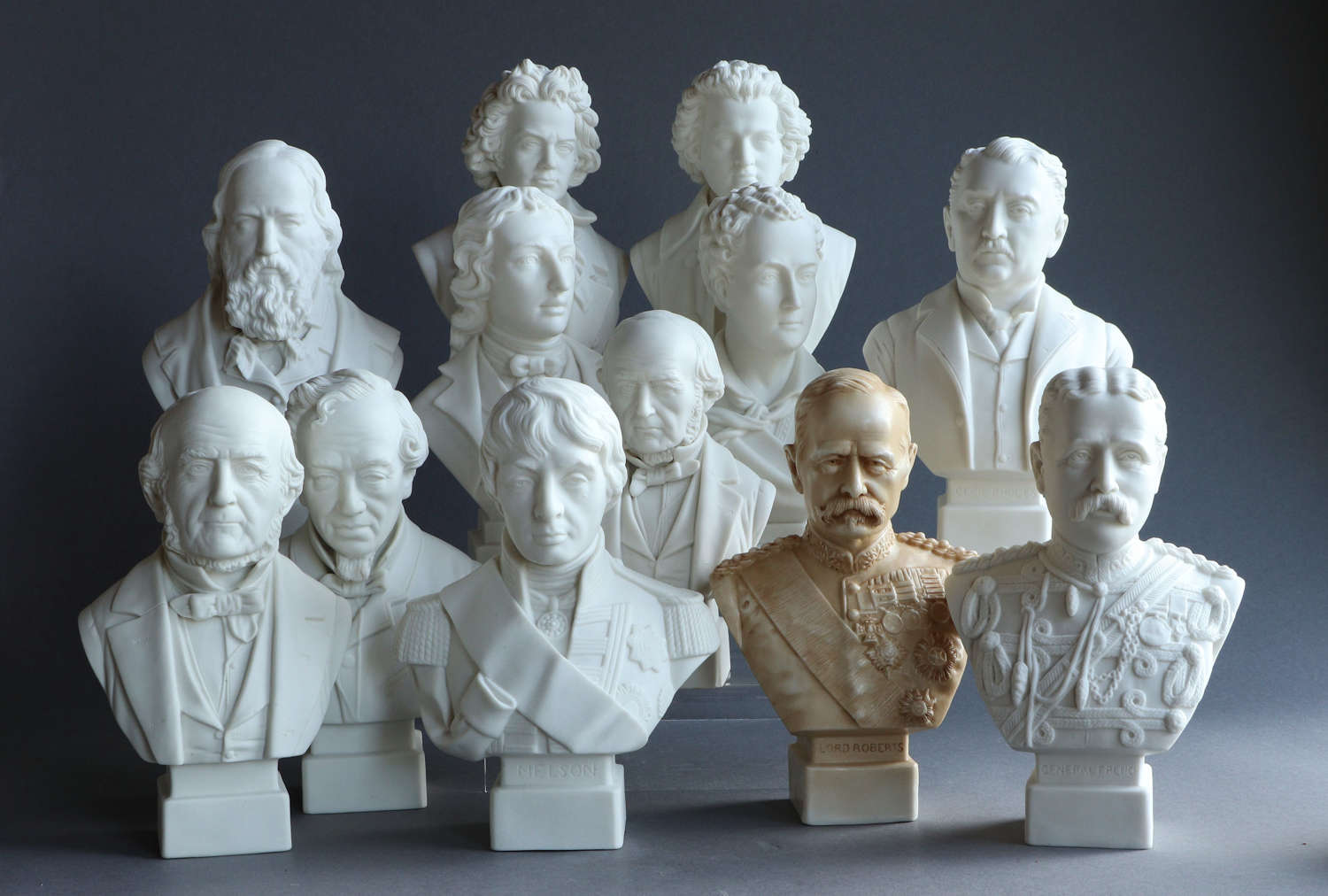 A collection of small antique Parian busts