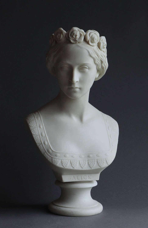 A Copeland Parian bust of Princess Alice