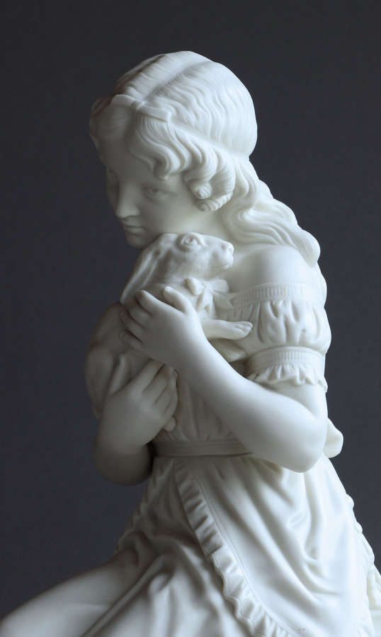 "A Copeland Parian figure of ""The Pets"" or ""Girl with Rabbit"""