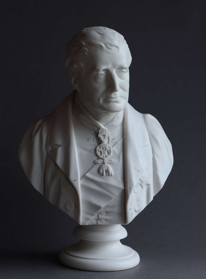 A large Coalbrookdale Parian bust of Wellington