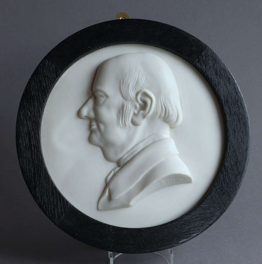 A rare Copeland Parian plaque of the Methodist leader Jabez Bunting
