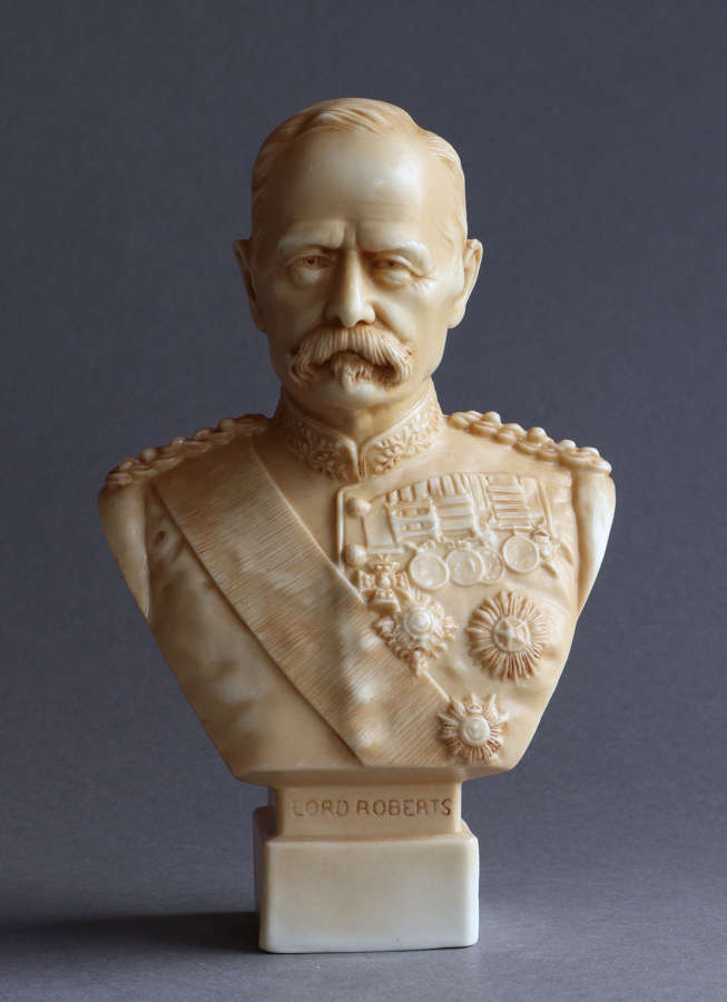 A small Parian bust of  Lord Roberts by Robinson & Leadbeater