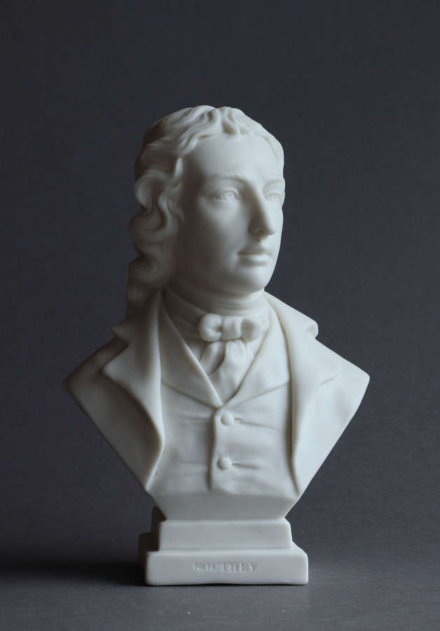 A small Parian bust of  Southey by Goss
