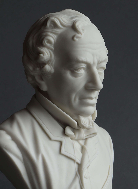 A medium Parian bust of Disraeli probably by R & L