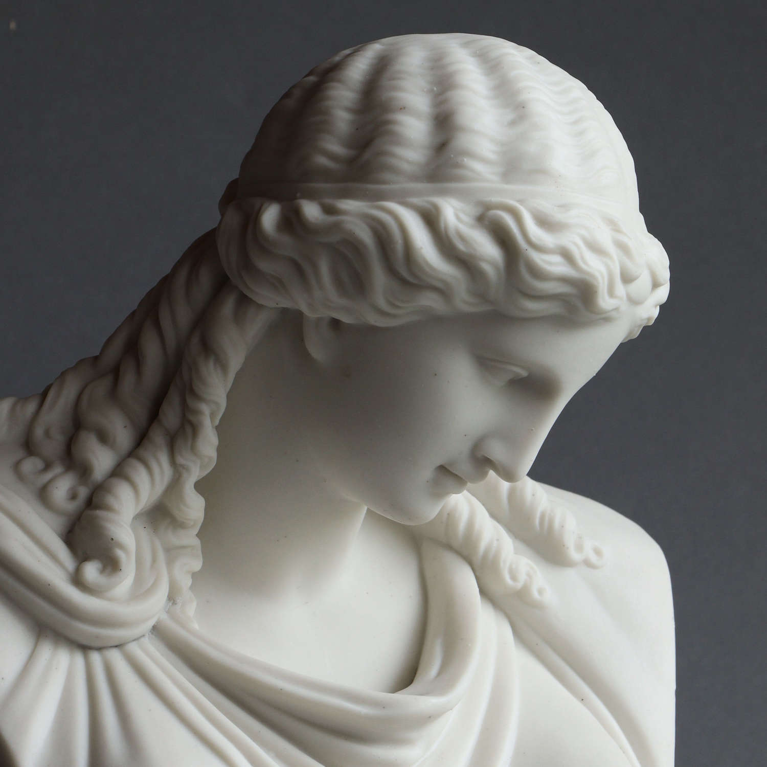 A Parian bust of a classical woman