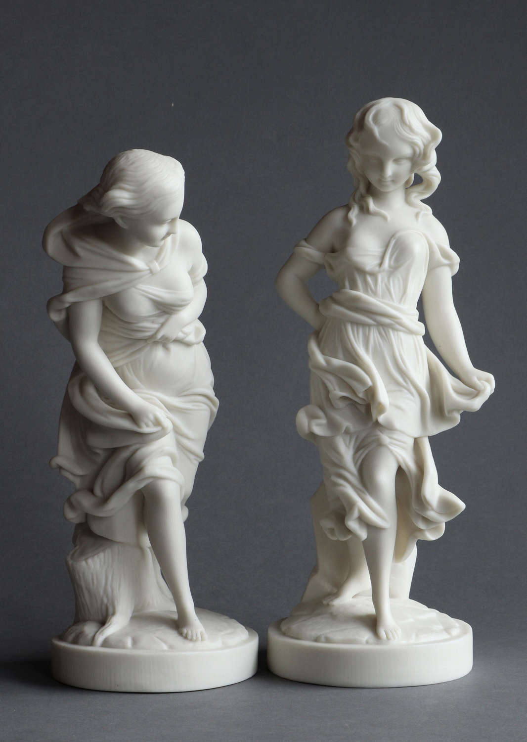 A pair or Worcester Parian figures: Before the Wind and After the Wind