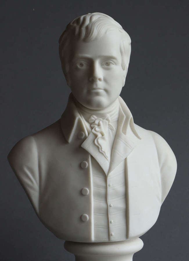 A Parian bust of Robert Burns, probably Minton